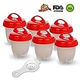 GESUNDHOME Cuociuova - 6 Portauova Antiaderente Egg Cooker Boiler (Rosso)