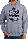 BlackMeow Queens are Born in March Grey Unisex Hoodie - X-Large