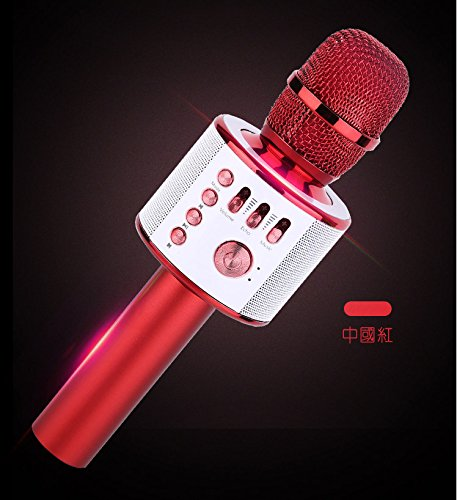 Bluetooth Karaoke Mikrofon, Hontrue tragbare drahtlose Mikrofon mit Lautsprecher für Erwachsene und Kinder für Sprach- und Gesangsaufnahmen,kompatibel mit Android /IOS, PC oder Alle Smartphone (Rot)