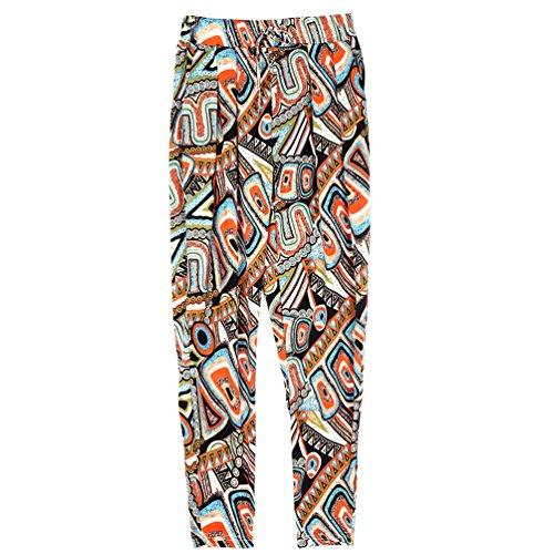YuanDian Femme Casual été Impression Grandes Tailles Taille Haute Taille Elastique Pantalon Sarouel Baggy Longue Carotte Léger Pantalons Fluide Café