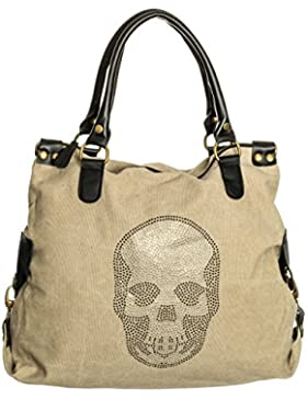 Damen Handtasche mit Strass Totenkopf Canvas Tasche Shopper Schultertasche Henkeltasche TCTK