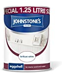 Johnstone's 303907 Eggshell Paint 1.25 Litre - Brilliant White