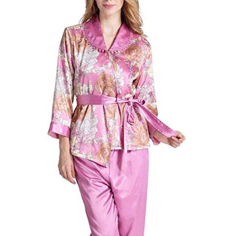 HAIYUANNAN Damen Satin Pyjamas Silk Womens Swanlong äRmel Hosen Spitze Sexy Langarm Rot Bestickt NachtwäSche Als Geschenk Zu Ihr, 165 (l) -