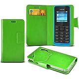 (Green) Nokia 105 Super dünne Kunstleder Saugnapf Wallet Case Hülle mit Credit / Debit Card SlotsBy Spyrox