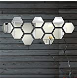 #2: Wall1Ders - Hexagon-Silver (Pack Of 12) 3D Wall Decor 3D Acrylic Mirror 3D Mirror Wall Stickers 3D Aacrylic Wal Stickers For Home & Offices.