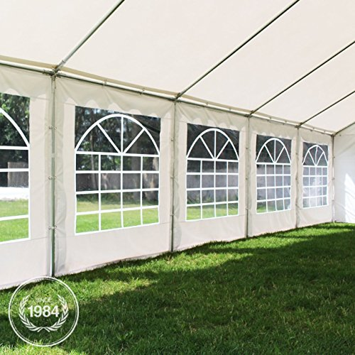 4×8 m Marquee Party Tent with Heavy Duty 500g/m² PVC Waterproof Tarpaulin, All Year Use, Party Wedding Event Tent, Fully Galvanised Frame, grey-white
