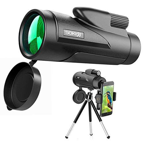 Monocular Telescopio HD Dual Focus 12 × 50 impermeable Alcance de foco con trípode – Soklit Alcance a prueba de golpes con correa de mano para observación de pájaros de la vida silvestre visualización Camping Viaje