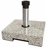 Helcosol Schirmständer in Granitoptik hell, 40 kg aus Vollkunststoff, füllbar mit Aluminium-Rohr, R Grau