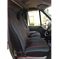 Carseatcover-UK® Heavy Duty Black & RED Trim Van Seat Covers (Universal Fit) - Single + Double