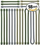 Cravates Tactiques Flexibles par Acrodo - Réutilisables, caoutchoutées - Organisez les cordes pour voyager - Comparer aux cravates de paracorde et de tirette - Couleurs militaires de camouflage - Paquet de 18