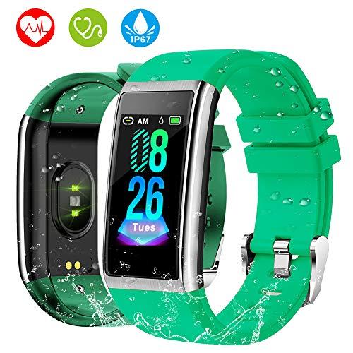 HOLALEI Pulsera Actividad Inteligente, Pulsera Inteligente con Medición de Presión Arterial y Monitor Ritmo Cardíaco, Pantalla a Color LCD HD de 1.14 Inch Reloj Inteligente para iOS y Android (Verde)