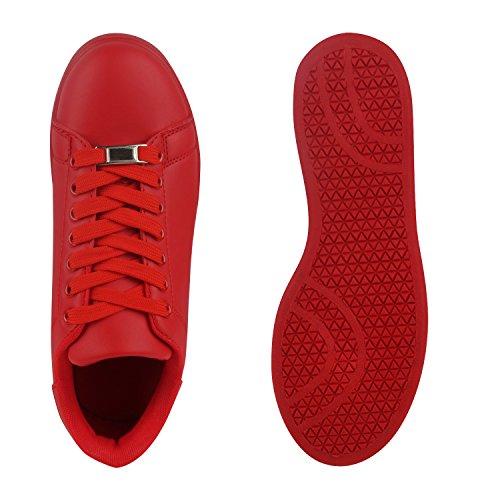 Damen Sneakers Low Basic Freizeit Schuhe Sportlich Rot Vp0dB
