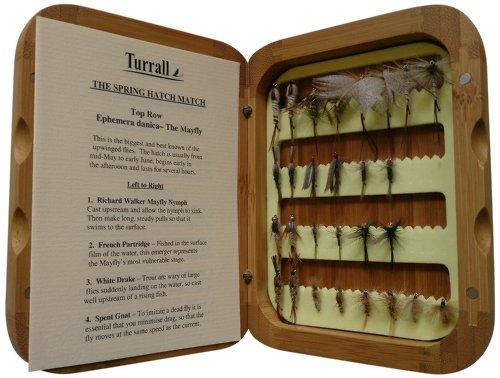 Bamboo Presentation Trockenfliegen-Set für den Frühling, in Bambus-Box, Braun, 32 Stück