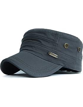 Kuyou Unisex Army Military Flat Cap Vintage Cotton Baseballmütze Kappe