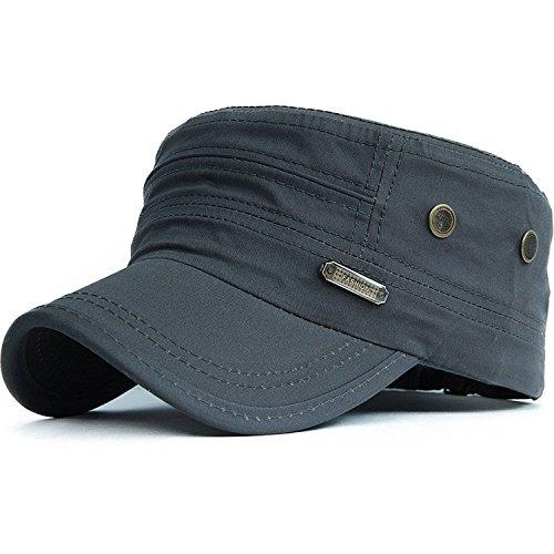 Kuyou Unisex Army Military Flat Cap Vintage Cotton Baseballmütze Kappe (004Grau) (Herren Sommer Newsboy Caps)