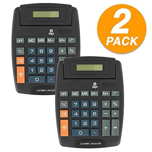 Emraw 8-stelliger großer Tischrechner mit 2 Power-Tasten, Standard-Funktion, großes Display, wissenschaftlicher Taschenrechner (2 Stück) - Große 8-stellige Taschenrechner Anzeige