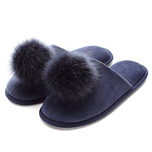 FLY HAWK Hausschuhe Damen Filzpantoffeln aus hochwertigem Samt Drinnen Pantoffeln mit Pompon für Herbst und Winter_XL_Navy