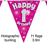 Happy 1st Birthday Pink Holographic Foil Party Bunting 3.9m Long 11 Flags by Oak Tree
