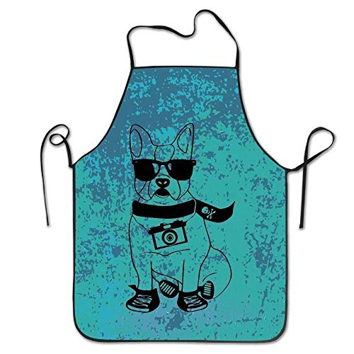 HTETRERW Animal with Glasses Aprons for Women/Men Made of Super Soft Barbecue Short Overhand Funny Chef Apron