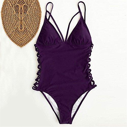 Italily -Donna Solido Costumi da Bagno Un Pezzo Bikini Costumi Backless Sweet Sexy design Swimwear donne ragazza senza schienale Push-up Swimsuit Purple