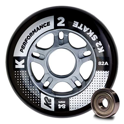 K2 Inline Skates Rollenset 84 mm Performance Wheel / ILQ 7 Ersatzrollen & Kugellager  - Schwarz - 8 Rollen inkl. Kugellager - 30B3010.1.1.1SIZ