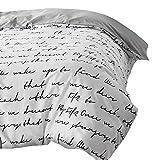 TylAdamdongdong Warme Winter Microfaser Bettwäsche,Letter Bettbezug Weiß Schwarz Grau Twin Full Queen King Double Single Bedding-Grau_240 x 220