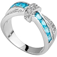 SaySure White Gold Filled Aquamarine Anniversary Wedding & Engagement Ring