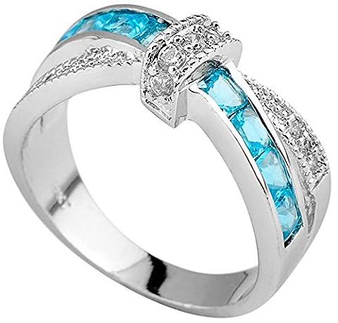 SaySure White Gold Filled Aquamarine Anniversary Wedding & Engagement Ring