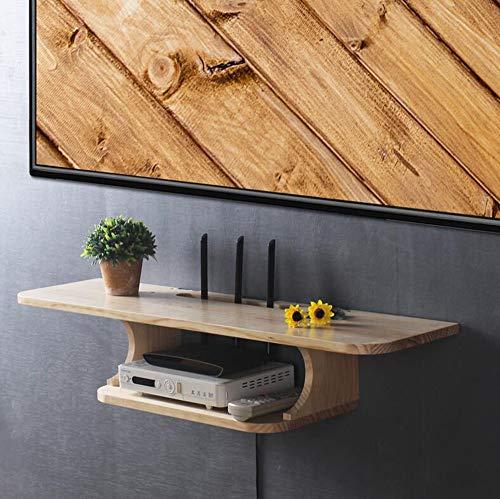 Fen Floating Regal Floating-TV-Set-Top-Box-Ablageboden Wand-Punch-Free-Wandleuchte aus massivem Holz Wireless-WLAN-Router-Aufbewahrungsbox -