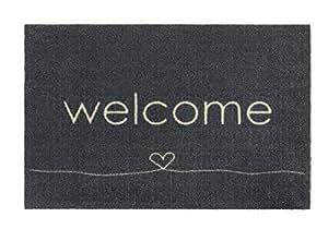 Fussmatte - Fußmatte - Schmutzabstreifer - Sauberlaufmatte - Türfußmatte - Fußabstreifer - Fußabtreter - Türmatte - Motivfußmatte - Fußmatte - Schmutzfangmatte - welcome - grau - Herz
