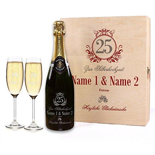 Privatglas Geschenkset zur Silbernen Hochzeit gravierter Champagner mit 2 Gläsern in Premium-Verpackung