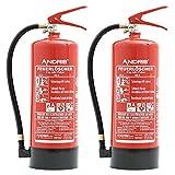 2X 6kg ANDRIS Feuerlöscher ABC Pulverlöscher EN3 mit Manometer, Sicherheitsventil + Prüfnachweis, 10 LE