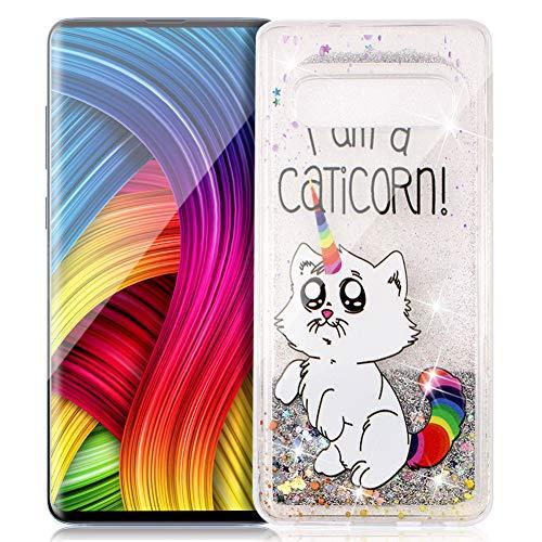ZCXG Kompatibel mit Samsung Galaxy S10 Hülle Klar Glitzer Liquid Crystal Silikon Gel Muster Stoßfest Rückseite TPU Bumper Transparent Slim Fit Anti-Kratzer Gummi für Galaxy S10#Cat Unicorn -