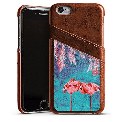Apple iPhone 5s Housse étui coque protection Été Flamands roses Rose vif Étui en cuir marron