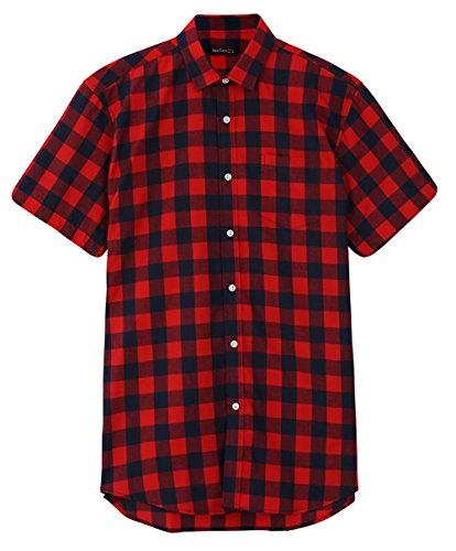 JEETOO Jungen/Kinder Uni Slim Kariert Kurzarm Freizeit mit Brusttasche Basic Anzug Check Baumwolle Button-Down Shirt (Small/155~158, Rot und Blau)