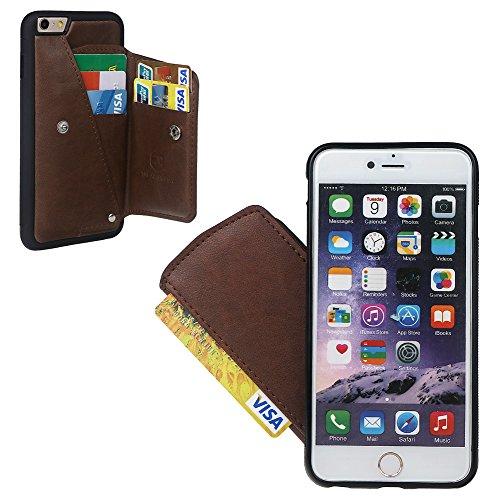 """xhorizon Behütendes Leders- Gehäuse des Geldbeutels, dauerhaftes zitternsbeständiges Gehäuse mit Kreditkarte und Schnitzsträger für iPhone 6 Plus / iPhone 6S Plus(5.5"""") mit einem 9H Ausgeglichen Glas  Kaffee + 9H Tempered Glass Film"""