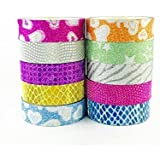 ELA Tapes Pack of 10 Colourful Designer Decorative Adhesive Glitter Tape Rolls, Length 3m Each (Designs As Per Availability)