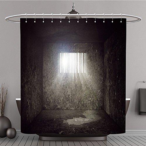 Zauberstäbe Potter Welt Harry Auf (Duschvorhang 250820074leer Beton Gefängnis Zelle mit Bar Code geformte Fenster und Sonnenstrahlen und Sun Flare durch die Prison Bars Konsum Polyester-Concept-Bad)