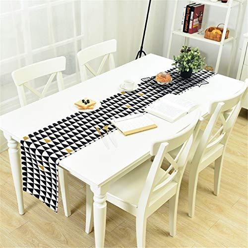 Table Runners Noir Et Blanc Géométrie Coton Linge Table Décoration Table Table À Manger Maison TV Nappe (Couleur : A, taille : 30X180CM)