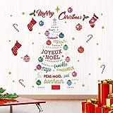 Décorations de Noël Autocollants Mural ' Joyeux Noël & Français Citations Noël Arbre ' Mural Murals Stickers Salon Enfants Crèche École Restaurant Café Hôtel Maison Décor