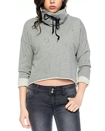 Fashion Flash Damen Sweatshirt Destroyed Look mit Kragen und Kordelzug (grau)