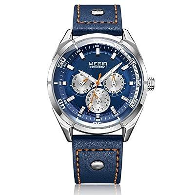 Relojes Hombre Relojes de Pulsera Marea Cronometro Impermeable Analogicos Cuarzo Relojes de Hombre Deportivo Casual Clásicos Multifunción con Correa de Cuero