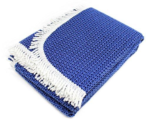 blaue Gartentischdecke Rustikal Weichschaummaterial mit weißer Baumwollblende als Randabschluss,...