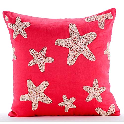 Koralle Kissenbezüge, Perlmutt-Starfish Ocean and Beach Theme Kissen Decken, 40x40 cm Baumwolle Leinen Werfen Kissen Decken, Blumen Mittelmeer- Kissen Fälle - Corallian Star Spirit -