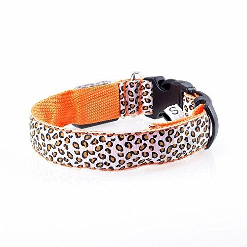 sijueam Leopard Muster LED Hundehalsband, Verstellbar blinkendes Halsband Leuchthalsband Sicherheit Hund Halskette Loop Nylon Welpen Illuminating, mit verstellbare Schnalle, 6Farben Orange Type 1 Orange-L L -