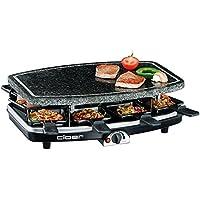 Cloer 6430 Raclette-Grill mit Naturstein, (1200 Watt, 8 Pfännchen antihaftbeschichtet mit wärmeisolierten Griffen)