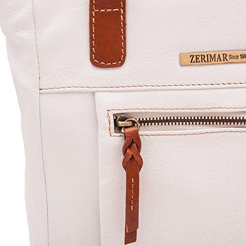 Zerimar Borse a mano da donna | 100% pelle alta qualità Borsa della Signora | Borsa a mano | Borsa Grande | Borsa Piccola | Scomparti multipli | Misure: 130 x 33 x 11 cms Bianco-tan