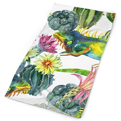 UV Resistance Headwear for Outdoor Sport Headband, Multifunctional - Fishing Mask, Neck Gaiter, Headband, Bandana, Balaclava, Bouquet Cactus Flowers Twigs Lizard Head Wrap Scarf -