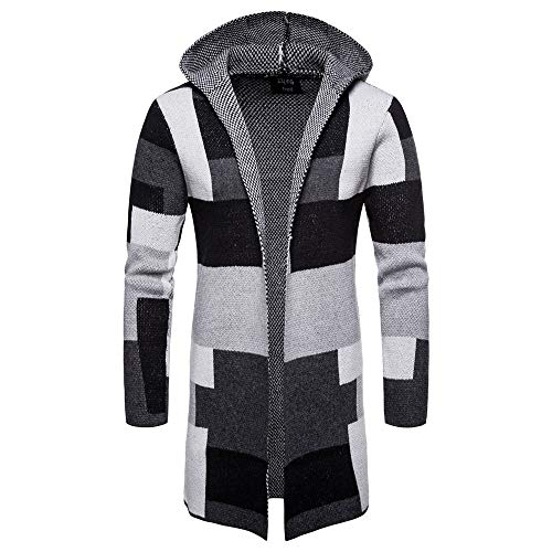 Kapuzenjacke Timogee Männer Strickpullover Mantel Outwear Kapuzenshirt Kapuzen-Sweatshirt Strickjacke Langarm Knit Hooded Outwear Mens Solid Trenchcoat Jacke Pullover Pullover Knit Tee