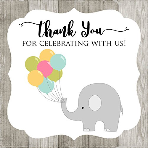 Adorebynat Party Decorations - EU Gracias por celebrar con ellos elefante pegatinas - Fiesta de cumpleaños del bebé de la ducha - Set 30